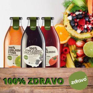 100% ovocné a zeleninové lisované šťavy