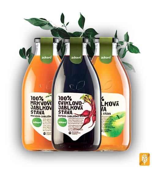Zdravo Mix - 2x cviklovo-jablková 2x jablková a 2x cviklovo-jablková šťava